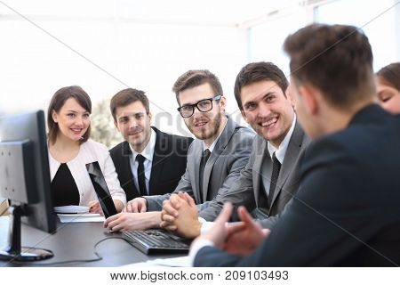 businessman starting meeting with business team