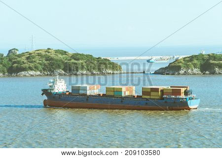 container ship on sea,shanghai,china.