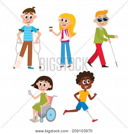 People with injuries and disabilities - wheelchair, blindness, broken arm and leg, prosthesis, cartoon, comic vector illustration isolated on white background. People with traumas and disabilities