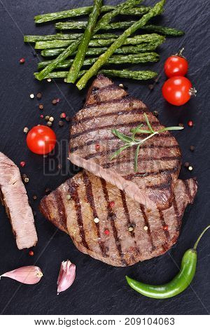 Hot Barbecued Beef Steaks With Vegetables