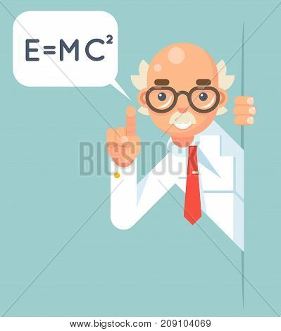 Consultant Scientist Education Support Help Scientific Consultation Advice Looking Out Corner Cartoon Idea Character Solution Flat Design Vector Illustration