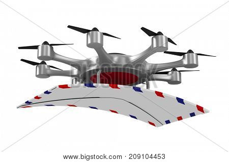 octocopter with mail on white background. Isolated 3d illustration