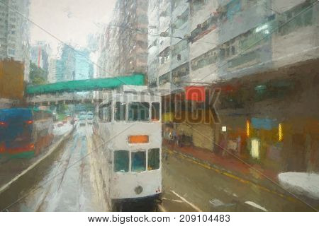 Double-decker tramway in Hong Kong at daytime