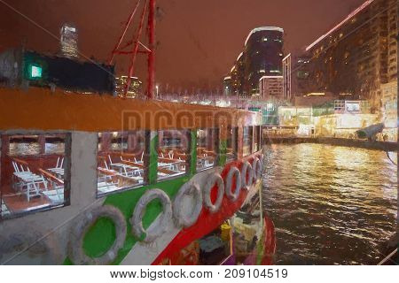 A ferry at Victoria Harbour in Hong Kong at night.