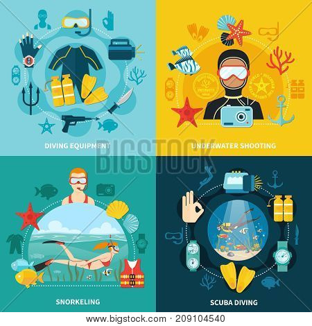 Diving design concept with equipment including gun and knife, underwater shooting, snorkeling, scuba swimming isolated vector illustration