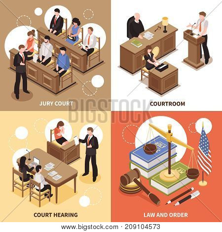 Law and order 2x2 isometric design concept with jury court courtroom court hearing square compositions  vector illustration