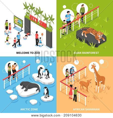 Welcome to zoo 2x2 design concept with asian rainforest arctic zone and african savannah square icons isometric vector illustration