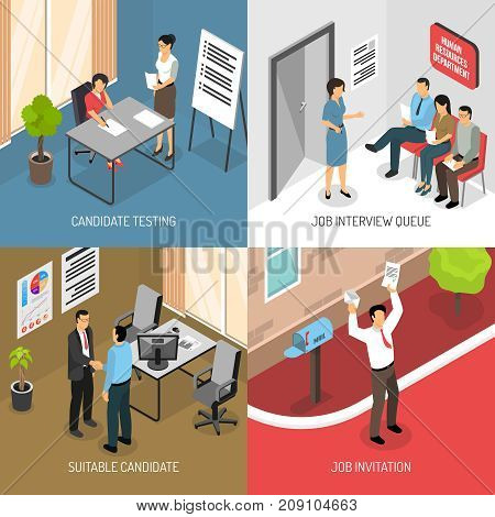 Job interview design concept with images of receiving invitation letter and indoor office placement testing vector illustration
