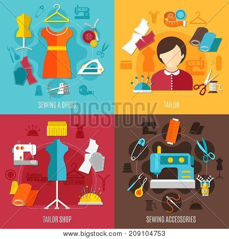 Sewing concept icons set with tailor shop symbols flat isolated vector illustration