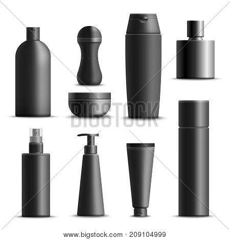 Set of realistic mens cosmetics in black packaging including cream, shampoo, deodorant, perfume, soap isolated vector illustration
