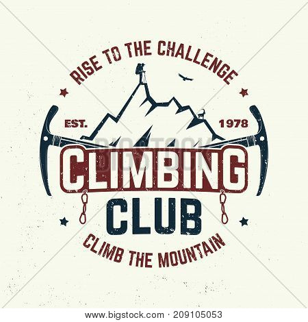 Climbing club badge. Vector. Concept for shirt or logo, print, stamp or tee. Vintage typography design with ice axe, rock climbing Goat and mountain silhouette. Outdoors adventure emblem. Outdoors adventure