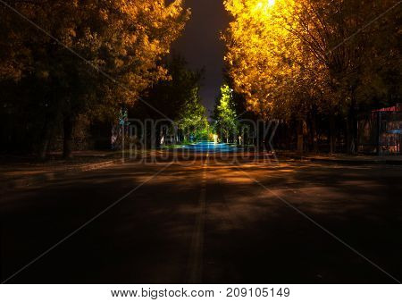 night street in autumn in europe small town night lamps