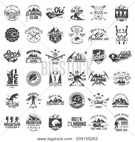 Rock and ice climbing, skiing, alpine and hiking club. Vector illustration. Set of vintage badges, labels, logos, silhouettes. Vintage typography collection with 36 items. Outdoors adventure emblems.