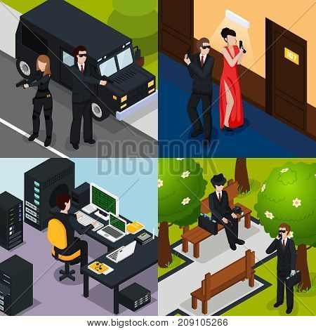 Special agent isometric concept with action in hotel, safeguard, spy on bench, professional equipment isolated vector illustration