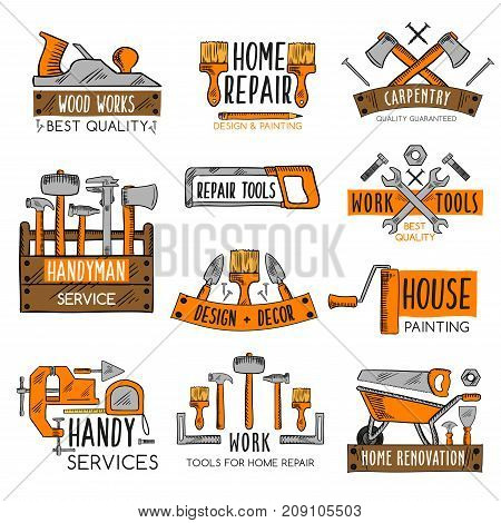 Work tool emblem set for home repair, house painting and carpentry work. Screwdriver, hammer, wrench and pliers, spanner, paint brush, roller, tape measure, saw, axe, trowel and wood toolbox sketches