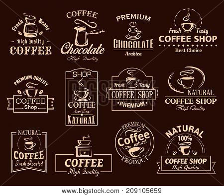Coffee cup label set for cafe and shop design. Cup of espresso, vintage coffee pot and grinder, mug of hot chocolate brown symbol, decorated with natural premium coffee bean and swirl of steam