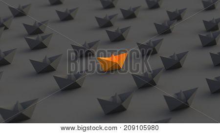 Leadership success and teamwork concept orange leader boat among black boats. 3D Rendering.