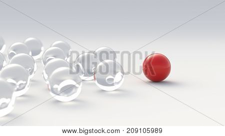 Leadership, Success, And Teamwork Concept, Red Leader Ball Leading Glass Balls. 3D Rendering.