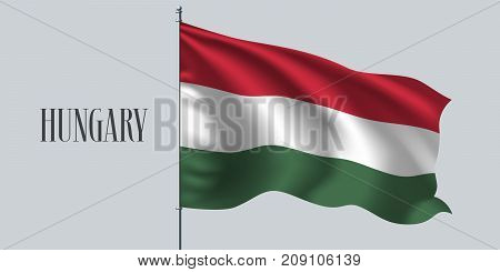 Hungary waving flag vector illustration. White red green design as a national Hungarian symbol