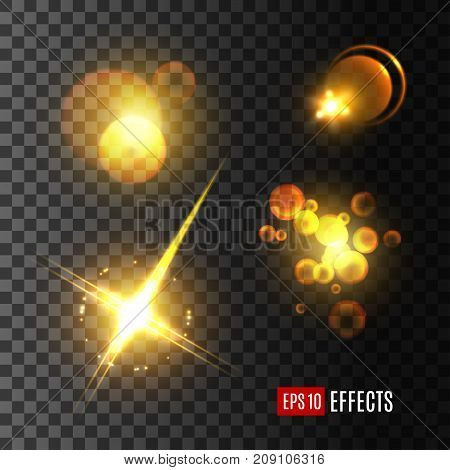 Light effect and golden glitter set. Glowing sun beam with lens flare, shining star with glare of bright ray and sparkles, golden light flash and festive bokeh on transparent background
