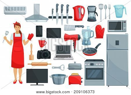 Home appliance and kitchenware vector set. Refrigerator, microwave and coffee machine, vacuum cleaner, oven, stove, mixer, blender and knife, pot and toaster, computer, camera, tv and phone