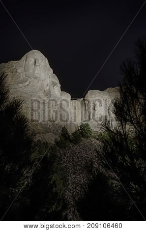 Mount Rushmore National Memorial.  Evening lighting ceremony.