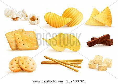 Salty snacks set with isolated images of nachos chips cookies and pop corn on blank background vector illustration
