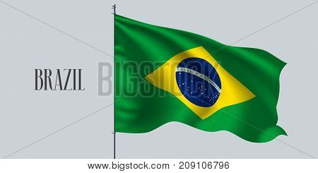 Brazil waving flag on flagpole vector illustration. Three colors element of Brazilian wavy realistic flag as a symbol of country