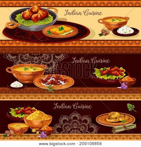 Indian cuisine restaurant banner set. Vegetable rice curry with chicken and fish, seafood shrimp soup, pork meat pilau, fried feta cheese, lentil corn soup and nut cookie for thali menu vector design