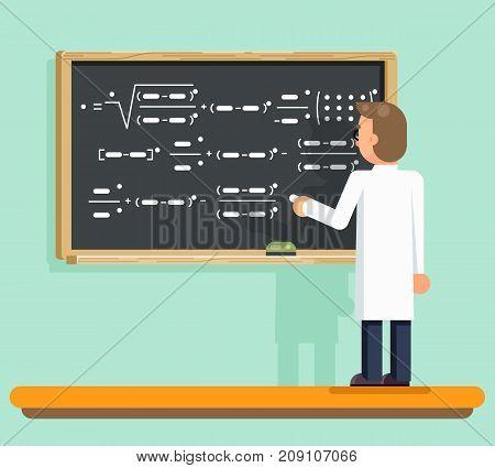 Scientist writes down mathematic formula scientific physical board calculations flat design vector illustration