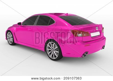 Car Isolated On White - Purple Paint, Tinted Glass - Back-left Side View