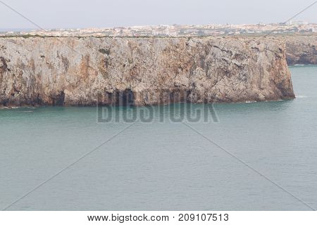 Cliffs And Sagre Village  In Cabo De Sao Vicente