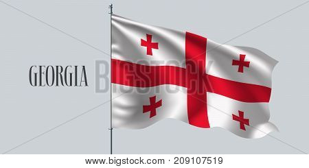 Georgia waving flag on flagpole vector illustration. Two colors element of Georgian wavy realistic flag as a symbol of country