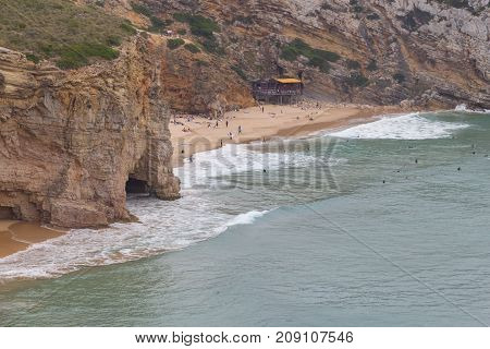 Beliche beach and cliffs  in Sagres Algarve Portugal