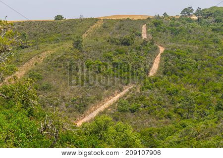Trail In Mountains And Vegetation In Aljezur