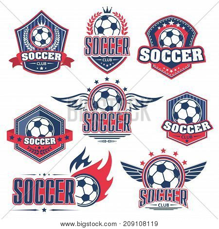 Soccer club, football sport game badge set. Soccer ball on heraldic shield with wing, flame, ribbon banner and laurel wreath for football sporting club or team emblem design