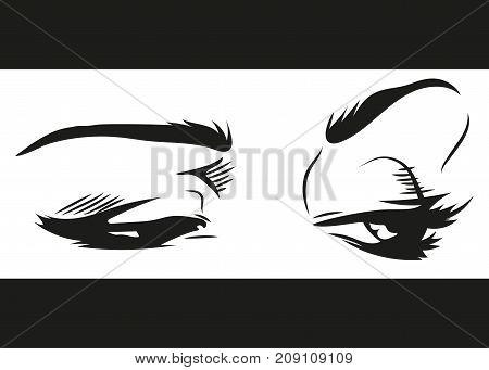 beautiful emotional female eyes with makeup illustration