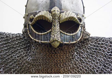 Metal Viking with chain-mail with mummy carving