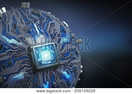 Circuit board system chip with core processor. Spherical computer motherboard with CPU. Futuristic computer technology background. 3d illustration
