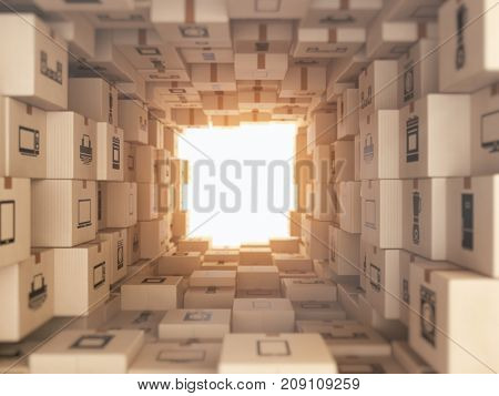 Internet online shopping and delivery concept. Household kitchen appliances and home technics in boxes.E-commerce abstract background from carton boxes. 3d illustration