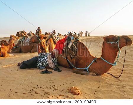SAHARA, TUNISIA - September 3, 2007. Tourists and bedouins on camels meet sunset in Sahara desert. Tunisia