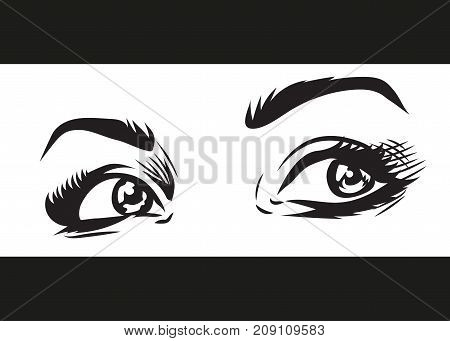 beautiful emotional female eyes with makeup illustration