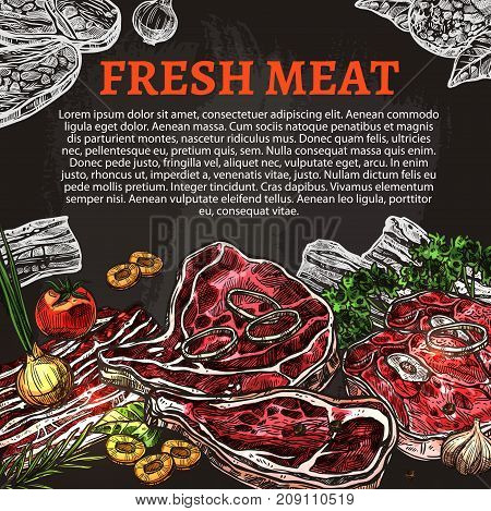 Fresh meat chalkboard poster with beef and pork steak, lamb chop, ham, chicken and bacon slices chalk sketch. Butcher shop product vector banner for meat store, restaurant menu, barbecue design