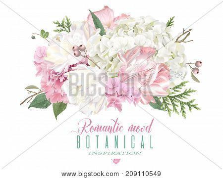 Vector floral composition with hydrongea, peony and tulip flowers on white background. Romantic design for natural cosmetic, perfume, women products. Can be used as greeting card or wedding invitation