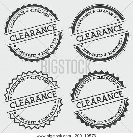 Clearance Insignia Stamp Isolated On White Background. Grunge Round Hipster Seal With Text, Ink Text