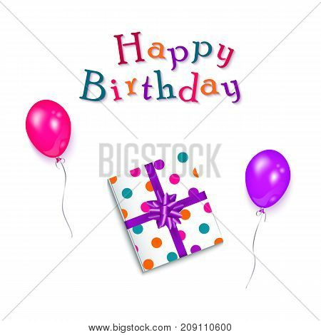 Happy Birthday greeting card, poster design with lettering, balloons and present box, vector illustration on white background. Birthday party elements - Happy Birthday text, present and balloons