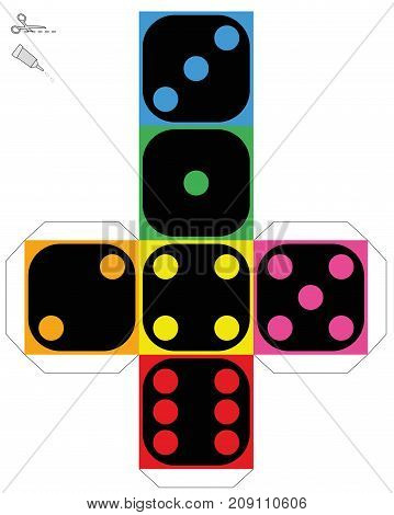 Dice template - construction sheet of a colorful cube to make a three-dimensional handicraft work out of it. Isolated vector illustration on white background.