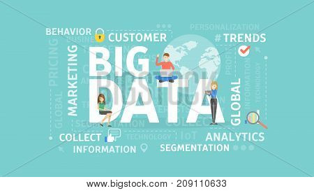 Big data concept illustration. Idea of collecting and analyzing information.