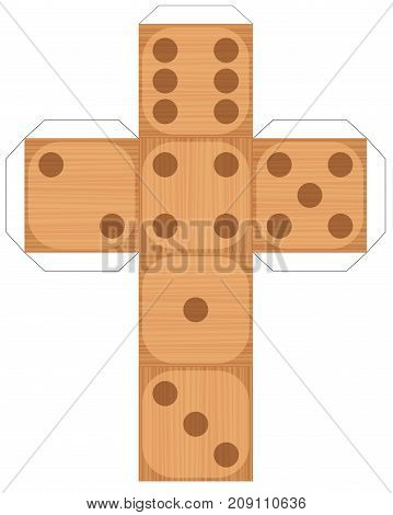 Dice template - model of a wood style cube to make a three-dimensional wooden textured handicraft work out of it. Isolated vector illustration on white background.