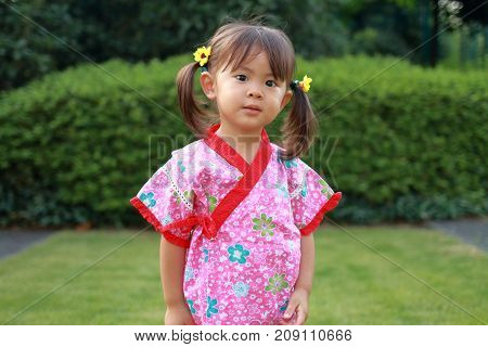 Japanese Girl Wearing Yukata, Japanese Traditiona Cloth (2 Years Old)